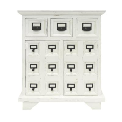 Cottage Style Antique White and Black 3-Drawer Wooden Cabinet with 2 Door Storage