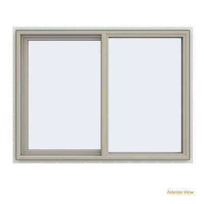 47.5 in. x 35.5 in. V-4500 Series Desert Sand Vinyl Left-Handed Sliding Window with Fiberglass Mesh Screen