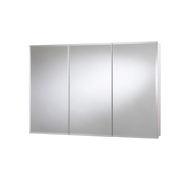 48 in. W x 30 in. H x 5-1/4 in. D Frameless Tri-View Surface-Mount Medicine Cabinet with Easy Hang System in White