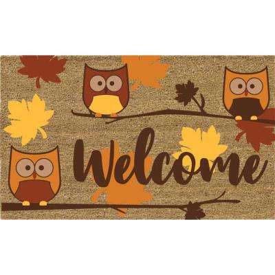 Welcome Owls 18 in. x 30 in. Coir Door Mat