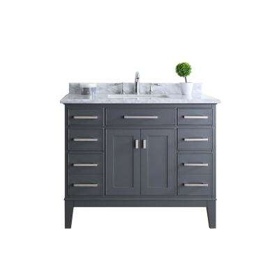 Danny 42 in. Single Vanity in Maple Gray with Marble Vanity Top in Carrara White