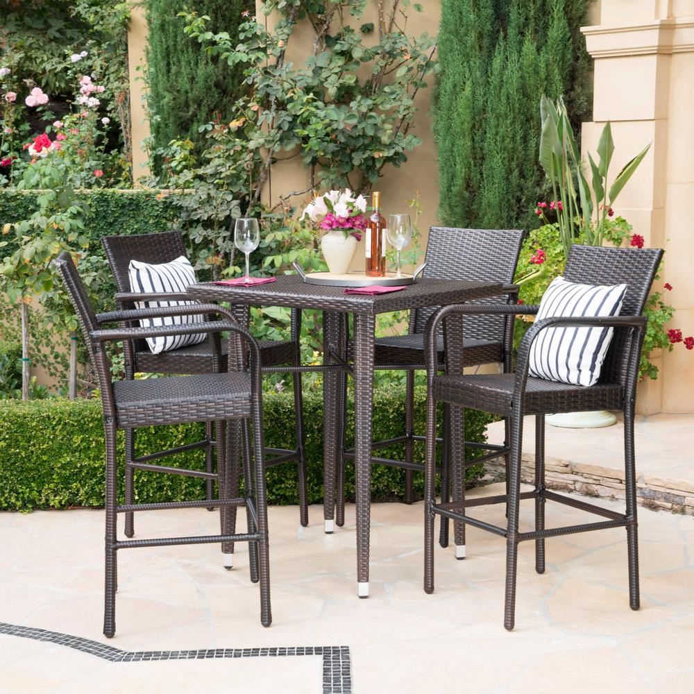 Tremendous Noble House Multi Brown 5 Piece Wicker Square Outdoor Bar Height Dining Set Short Links Chair Design For Home Short Linksinfo