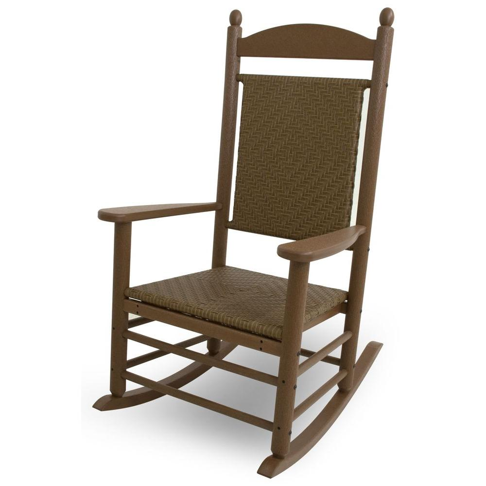 Jefferson Teak Woven All Weather Plastic Outdoor Rocker With Tigerwood Weave