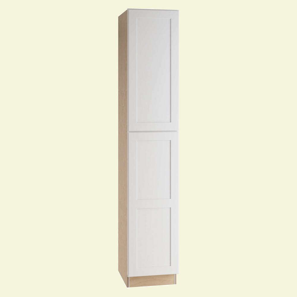 Home Decorators Collection Newport Assembled 18 x 96 x 24 in. Pantry/Utility Cabinet Left Hand in Pacific White