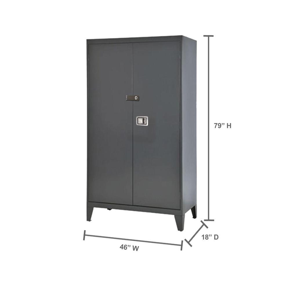 Sandusky 79 In H X 46 In W X 18 In D 5 Shelf Steel Extra Heavy Duty 16 Gauge Freestanding Storage Cabinet In Charcoal Xa4d461872 02lhh The Home Depot