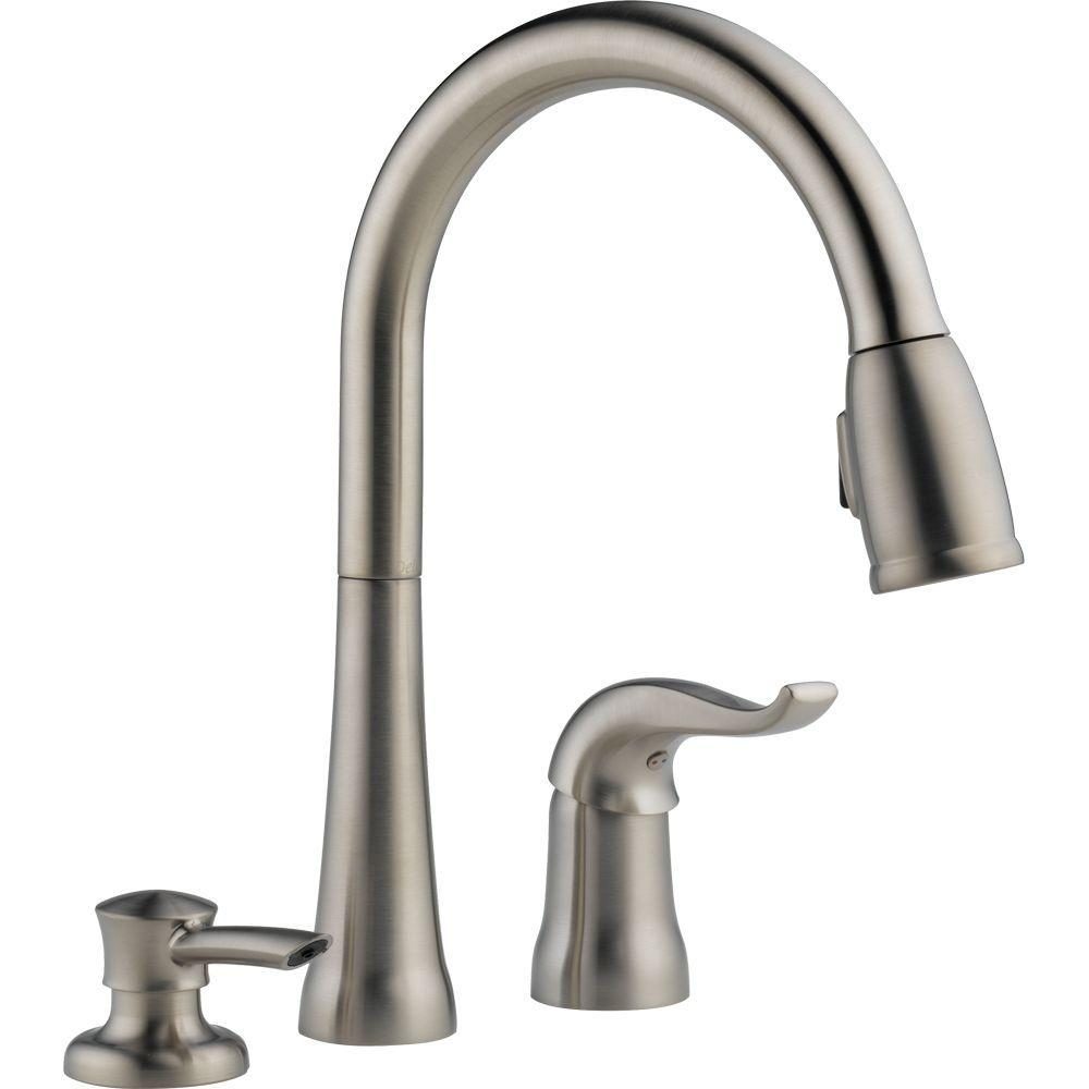 Perfect Delta Kate Single Handle Pull Down Sprayer Kitchen Faucet With MagnaTite  Docking And Soap Dispenser In Chrome 16970 SD DST   The Home Depot Nice Design
