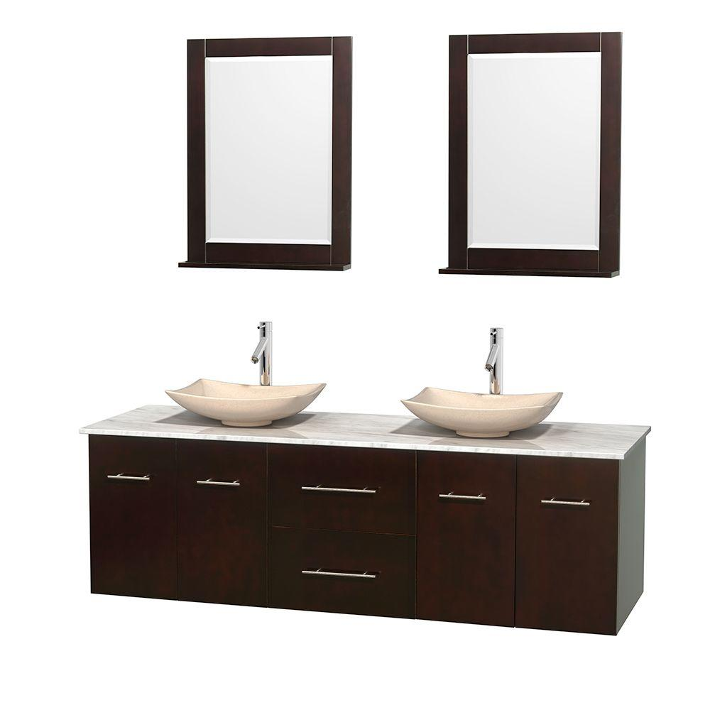 Amazing Wyndham Collection Centra 72 In Double Vanity In Espresso With Marble Vanity Top In Carrara White Ivory Marble Sinks And 24 In Mirror Home Interior And Landscaping Pimpapssignezvosmurscom