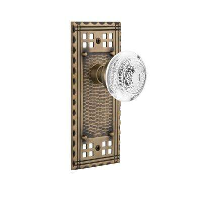 Craftsman Plate 2-3/8 in. Backset Antique Brass Passage Hall/Closet Crystal Egg and Dart Door Knob