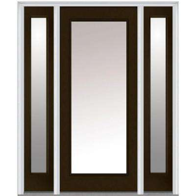 64 in. x 80 in. Classic Left-Hand Inswing Full Lite Clear Painted Steel Prehung Front Door with Sidelites