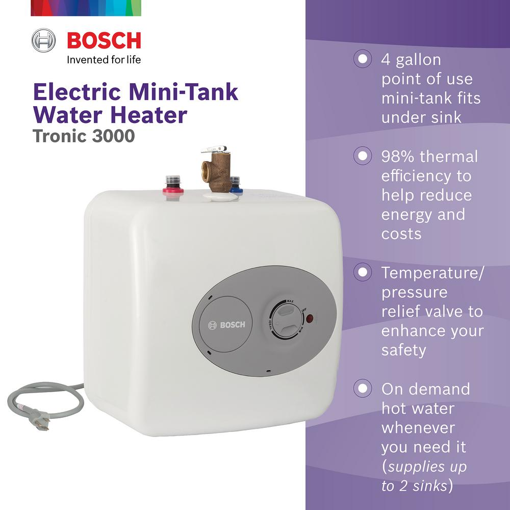 Bosch 4 Gal Mini Tank Electric Water Heater Es 4 The Home Depot