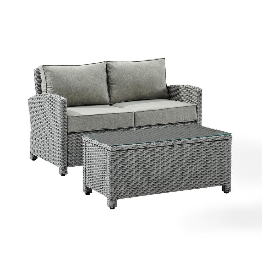Bradenton Gray 2-Piece Wicker Outdoor Patio Conversation Set with Gray Cushions