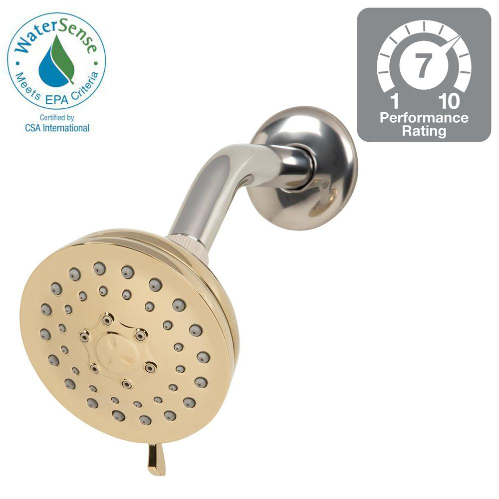 Glacier Bay 3-Spray 3.75 in. Fixed Shower Head in Polished Brass ...