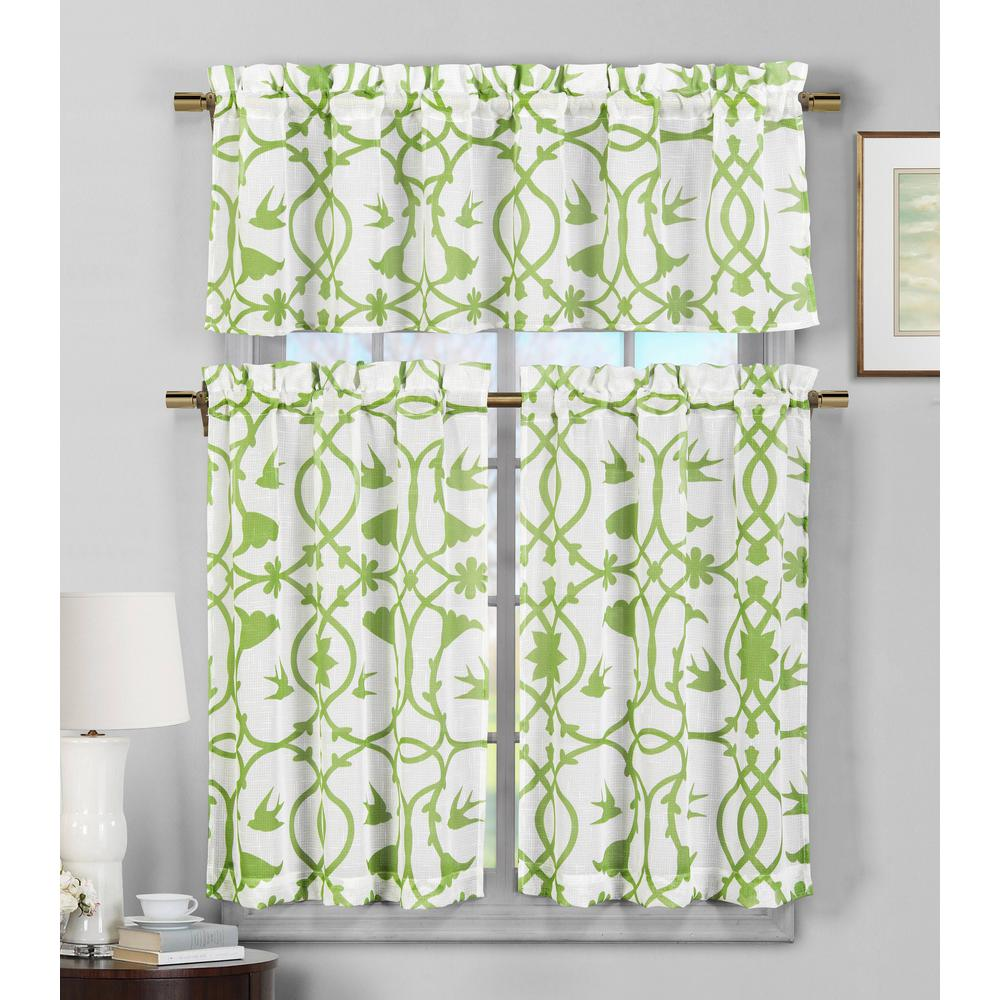 Duck River Dawn Apple Green Faux Linen Kitchen Curtain - 58 in. W x 15 in.  L in (2-Piece)