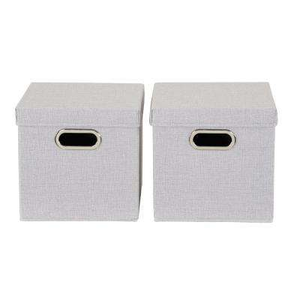 11 in. x 11 in. Silver Linen Bin Set (2-Pack)