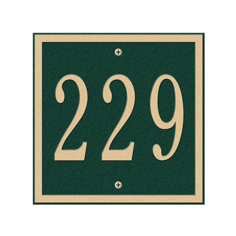 Whitehall Products Square Petite Wall 1-Line Address Plaque - Green/Gold