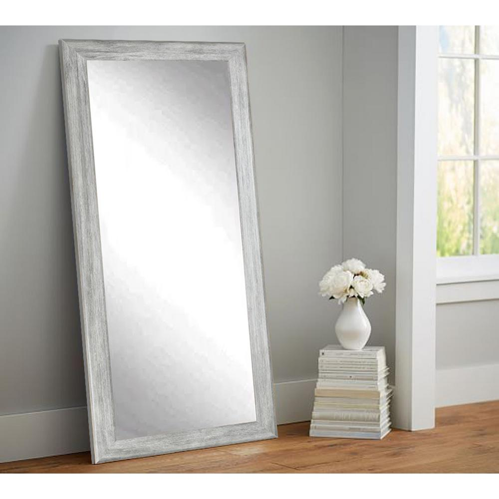 Weathered gray full length floor wall mirror bm035ts the for Framed floor mirror