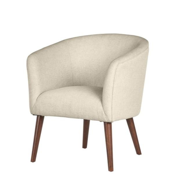 Home Decorators Collection - Paxton Walnut Beige Wood Accent Chair with Evere Biscuit Beige Upholstery (27.56 in. W x 30.71 in. H)