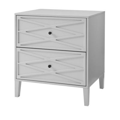 Newford 2 Drawer Shadow Gray Wood Nightstand with Diamond Trim (26 in W. X 28 in H.)
