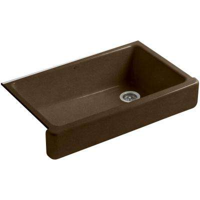 Whitehaven Farmhouse Apron-Front Cast Iron 36 in. Single Basin Kitchen Sink in Black 'n Tan