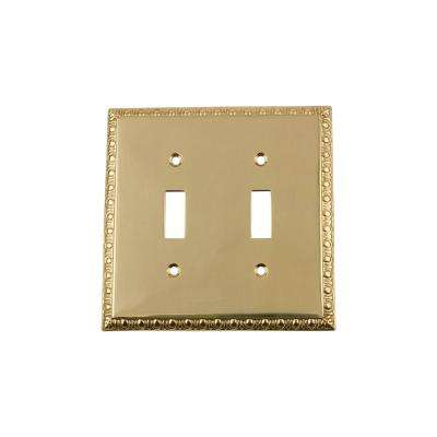 Egg and Dart Switch Plate with Double Toggle in Polished Brass