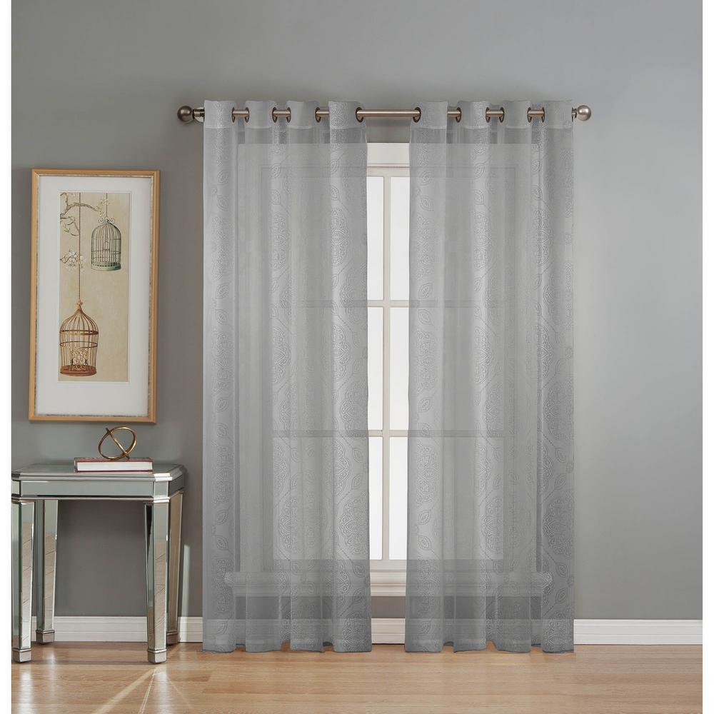 Sheer Diamante Cotton Blend Burnout Sheer 84 in. L Grommet Curtain Panel Pair, Silver (Set of 2)