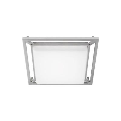 LBL Lighting Perret 10 in. W 10-Watt Satin Nickel Dimmable Integrated LED Flush Mount Square Ceiling Light Fixture