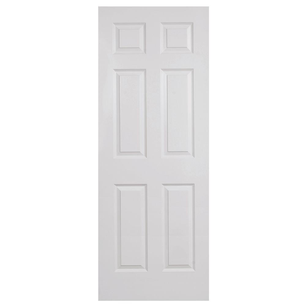 Steves & Sons 28 in. x 80 in. 6-Panel Textured Primed White Evolution Solid Core Interior Door Slab