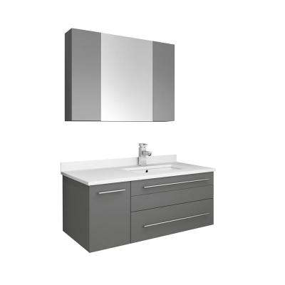 Lucera 36 in. W Wall Hung Vanity in Gray with Quartz Stone Vanity Top in White with White Basin and Medicine Cabinet