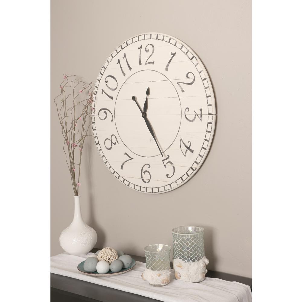 BrandtWorks 36 in. Oversized Antique White Farmhouse Wall Clock 36WHBKTRX