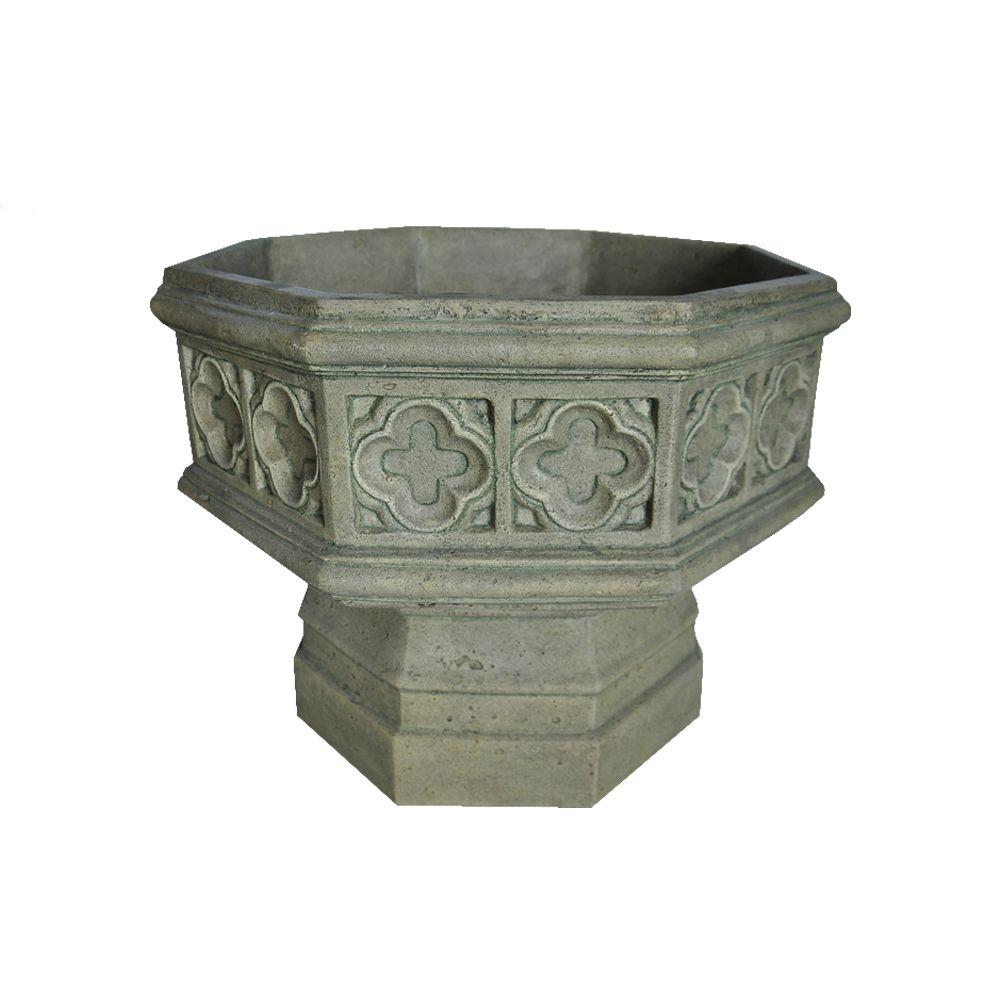 19.5 in. H Granite Cast Stone Gothic Urn, Special Aged Gr...