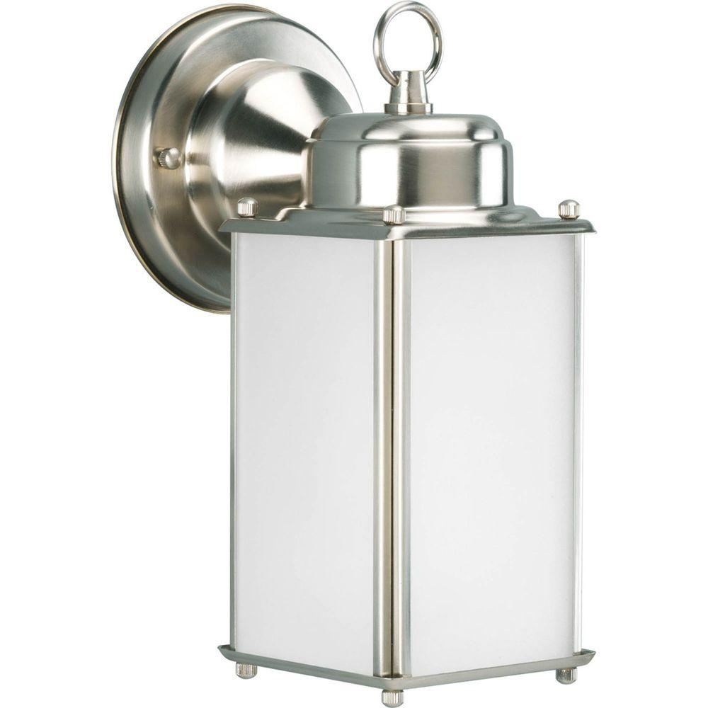 Roman Coach Collection 1-Light Outdoor Brushed Nickel Wall Lantern