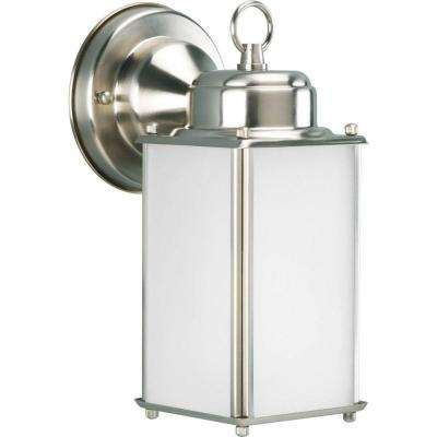 Roman Coach Collection 1-Light 10 in. Outdoor Brushed Nickel Wall Lantern Sconce