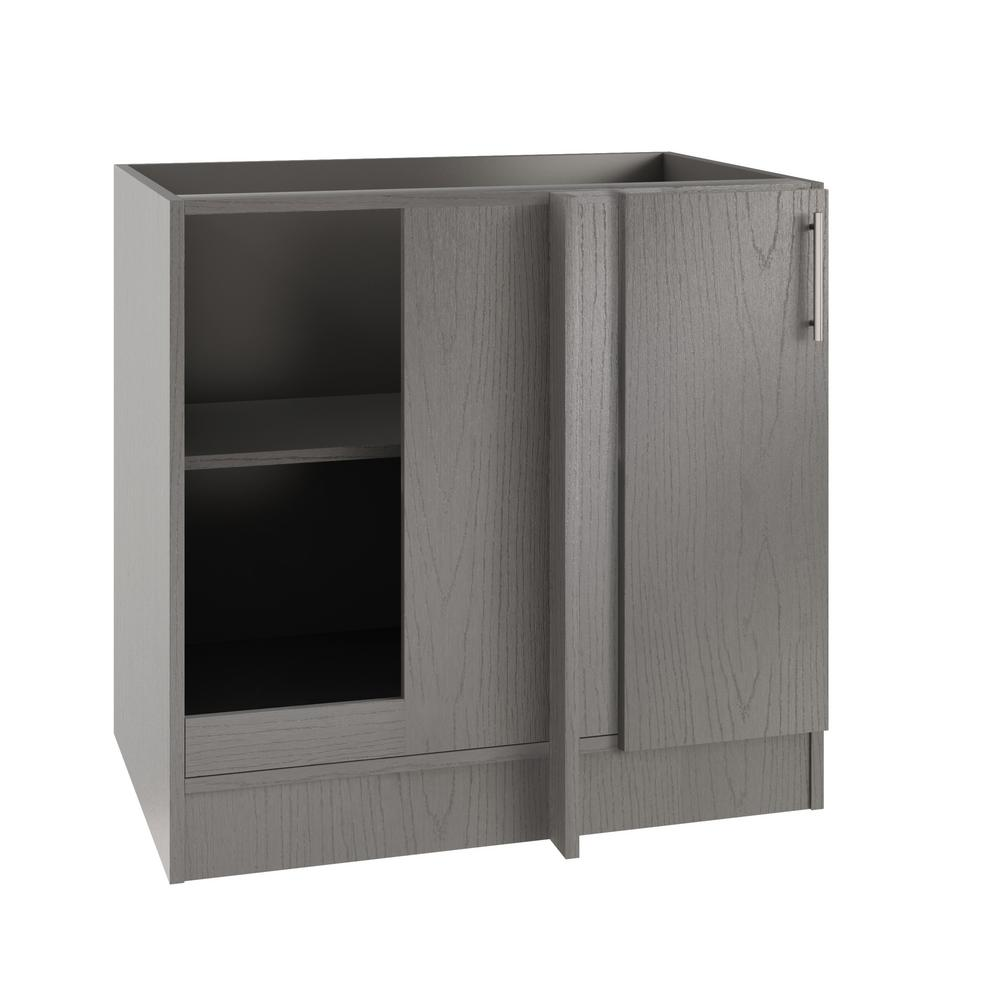 WeatherStrong Assembled 39x34.5x24 in. Miami Island Blind Outdoor Kitchen  Base Corner Cabinet w/Full Height Doors Left in Rustic Gray