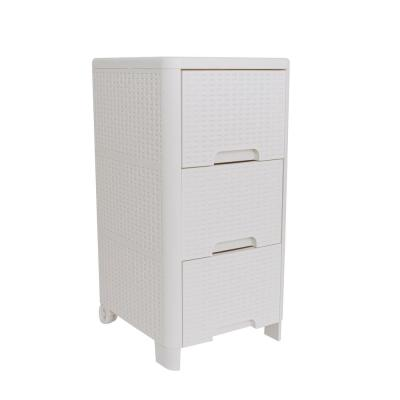 Rattan Style 3 Drawer Unit in Ivory