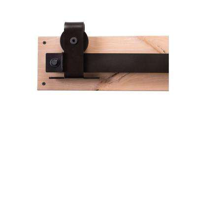 84 in. Dark Bronze Sliding Barn Door Hardware Kit with Top Mount Industrial Hangers and Industric Pull