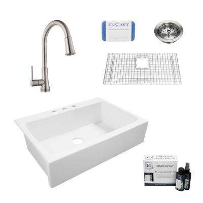 Josephine All-in-One Quick-Fit Farmhouse Fireclay 33.85 in. 3-Hole Single Bowl Kitchen Sink with Faucet and Strainer