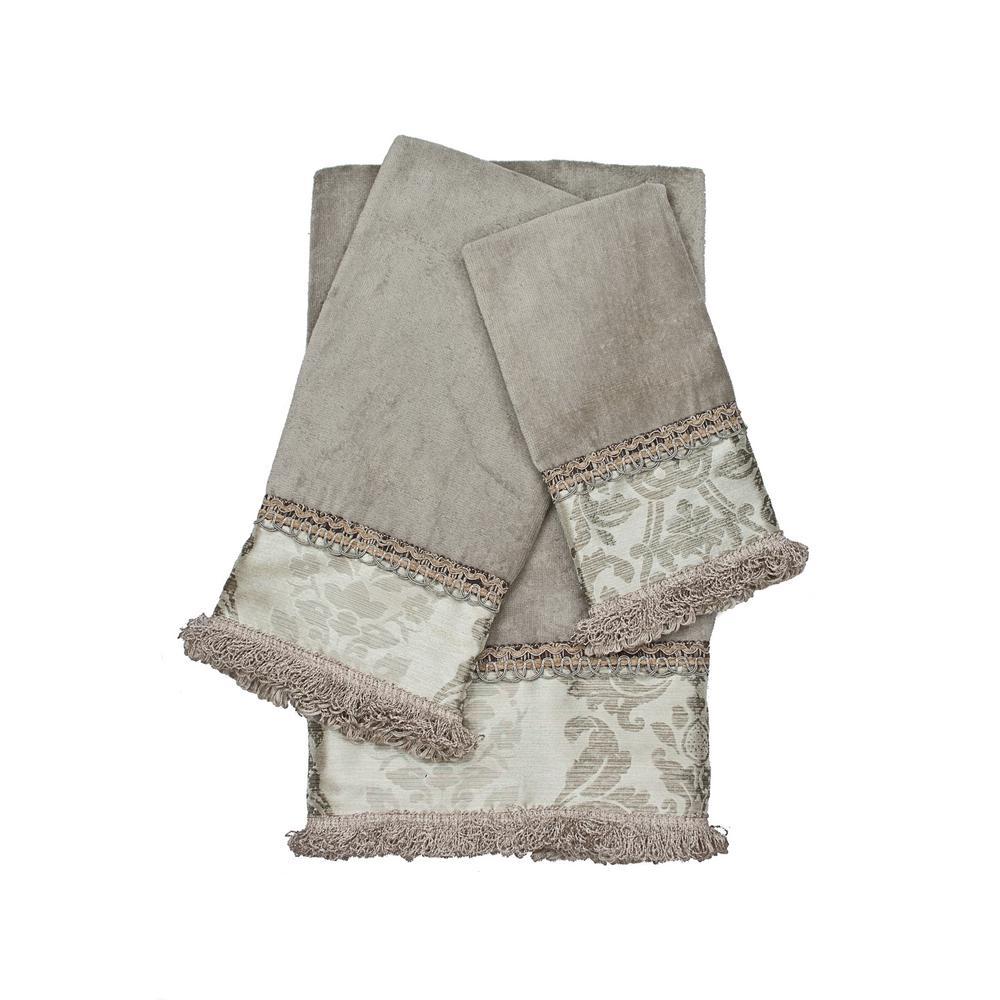 Westminster Grey Decorative Embellished Towel Set (3-Piece)