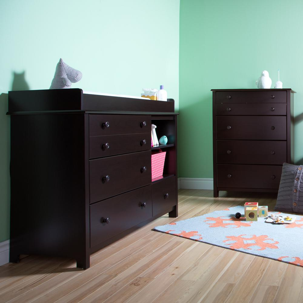 South Shore Little Smileys 4 Drawer Espresso Changing Table And Chest Set