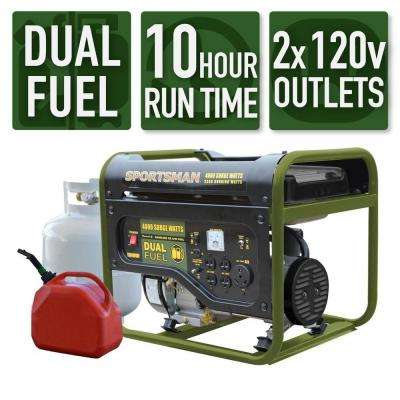 4,000/3,500-Watt Dual Fuel Powered Portable Generator, Runs on LPG or Regular Gasoline, 50 State Compliant