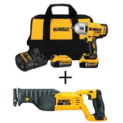 20-Volt MAX XR Cordless 1/2 in. Impact Wrench Kit with Bonus 20-Volt MAX Lit-Ion Cordless Recip Saw (Tool-Only)