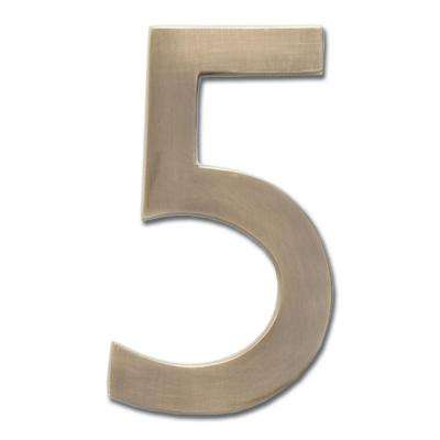 5 in. Antique Brass Floating House Number 5