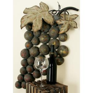 36 inch x 19 inch New Traditional Metal Grape Wall Decor by