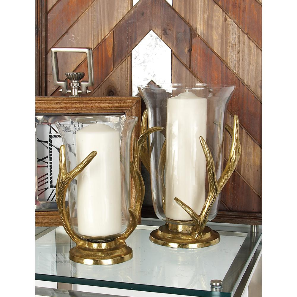 12 in. Gold-Finished Aluminum Antler and Glass Candle Holder