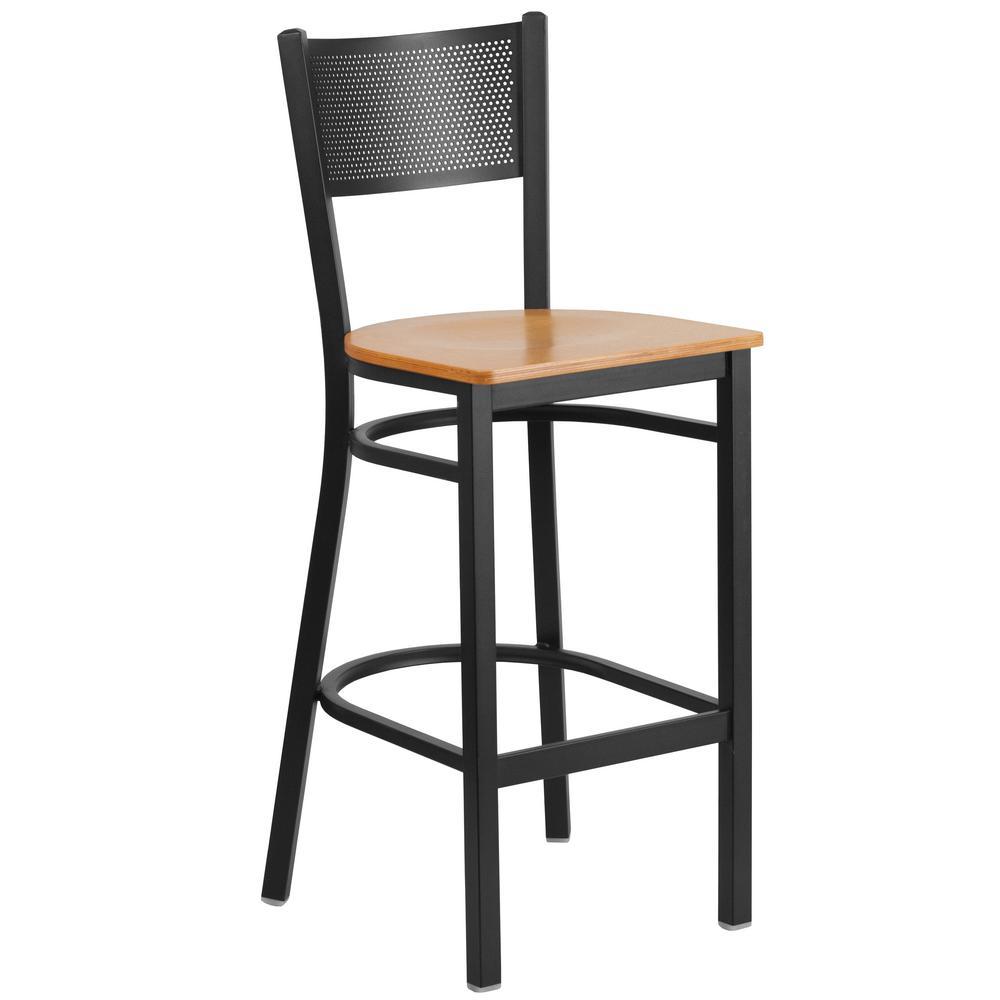 Carnegy Avenue 42.25 in. Natural Wood Seat/Black Metal Frame Bar Stool