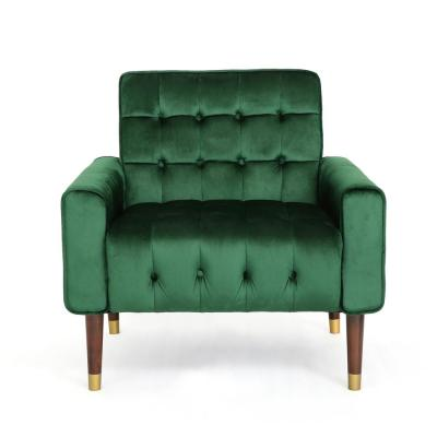 Bourchier Modern Glam Button Tufted Emerald Velvet Armchair with Waffle Stitching