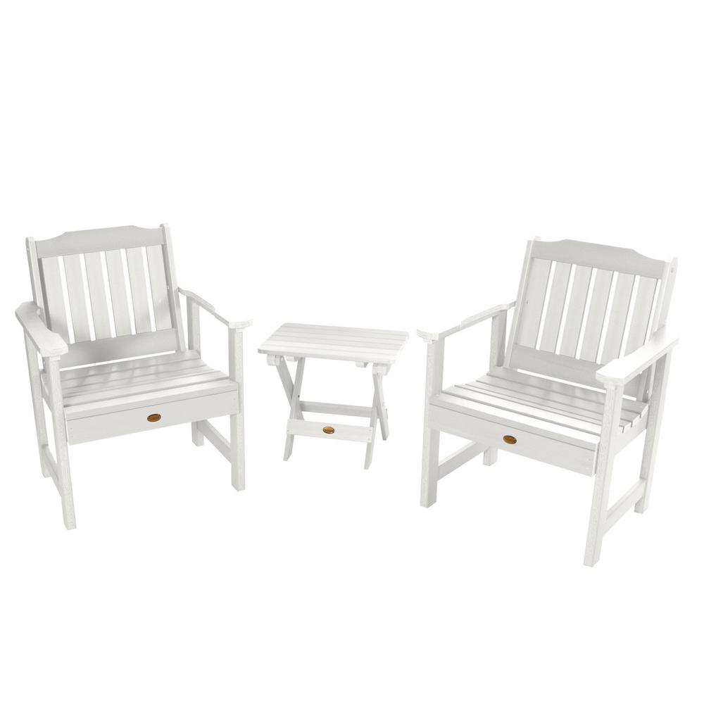 Highwood Lehigh White 3-Piece Recycled Plastic Outdoor Conversation Set