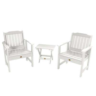 Lehigh White 3-Piece Recycled Plastic Outdoor Conversation Set