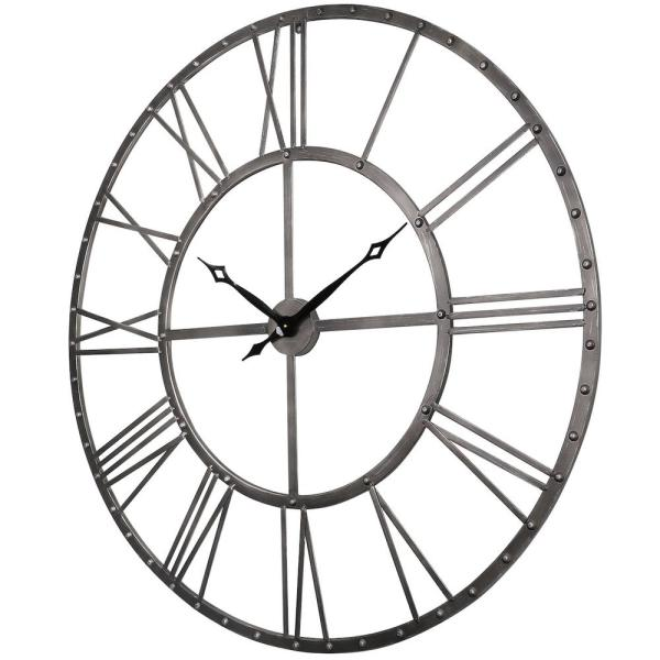 Utopia Alley Rivet Roman Industrial Oversize Wall Clock Gray 45 Cl25gy The Home Depot