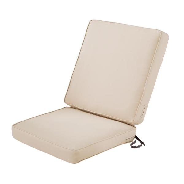 Montlake Fadesafe 20 In W X 24 In H Outdoor Dining Chair Cushion With Back In Antique Beige 62 055 Beige Ec The Home Depot