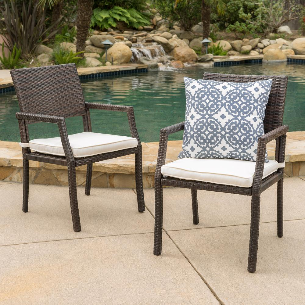 Swell Noble House Alondra Multibrown Stationary Wicker Outdoor Dining Chair With White Cushion 2 Pack Alphanode Cool Chair Designs And Ideas Alphanodeonline
